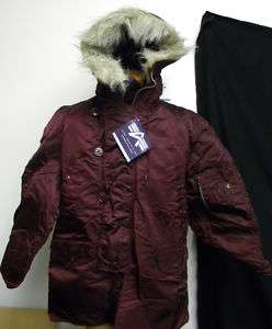 Alpha Industries N3B N 3B Flight Parka Hood Maroon NWT