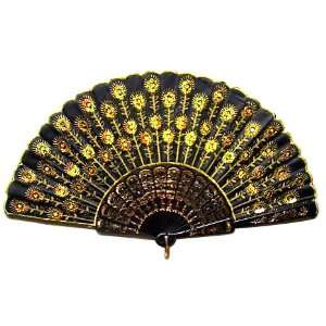 Beautiful Ladys Silk Hand Fan with Golden Sequins