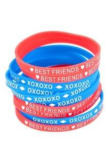 best friends and xoxoxo rubber bracelets 10 pack hot topic average
