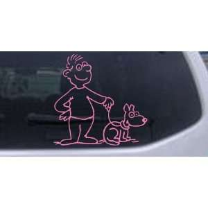 Pink 12in X 12.2in    Man and Dog Stick Family Car Window Wall Laptop