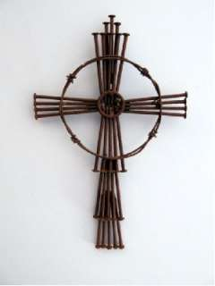 New Rustic Metal Nails Wire Jesus Cross Wall Hanging Christian Decor