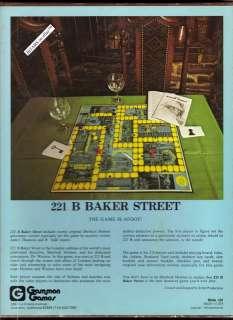 1975 221B BAKER STREET BOOKSHELF GAME, SHERLOCK HOLMES BOARD GAME