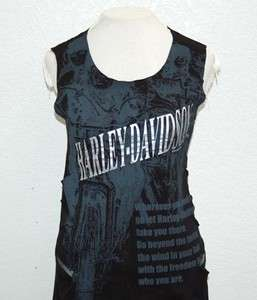 Harley Davidson Ladies Mesh Vents 2 Layer Black Sleeveless Shirt