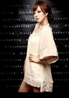 1645 New Womens Lace Collar Chiffon Dress