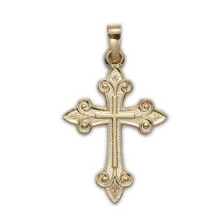 14K Gold Christian Fleur D Li Cross Pendant Necklace Y