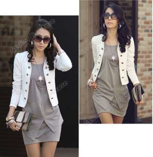 Lady Long Sleeve Crew Neck Cotton Casual Short Mini Dress #095