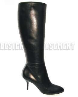 GUCCI black Leather STEVE side Zip Rubber sole Knee boots NIB