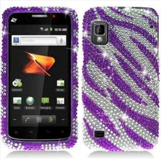 Purple Zebra Bling Diamond Hard Case Cover for Boost Mobile ZTE Warp