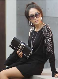 Women Ladys korean fashion cotton loose leopard knit top ss10512