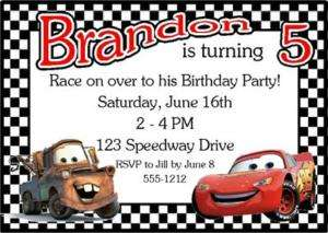 Personalized Cars Lightning McQueen birthday invitation