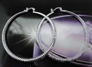 925 Sterling Silver Plated Fashion Hoop Earrings JE111