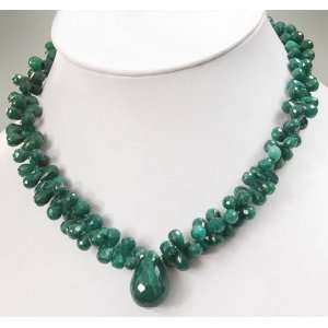Amazing Designer Natural Faceted Green Emerald Drops Single Strand