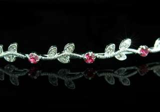 Wedding Pink Crystal Rhinestone Headband Tiara T1237