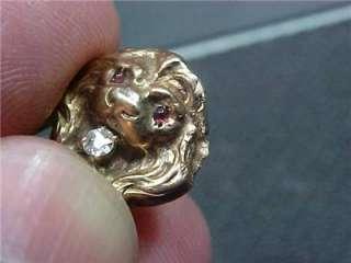 Victorian Edwardian Stick Pin Lions Head Gold (12B1)