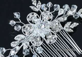 Bridal Wedding Handmade Flower Crystal Hair Comb T1375