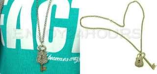 Charming Vintage Lock Key Charm Pendant Bronze Necklace