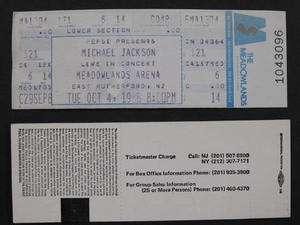 MICHAEL JACKSON Bad Tour Meadowlands NJ Unused Ticket