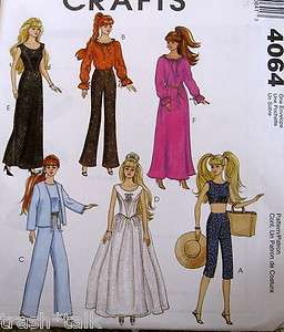 Barbie Doll Clothes Pattern gown dress casual daywear