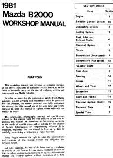 1981 Mazda B2000 Pickup Shop Manual 81 B 2000 Truck Original Repair