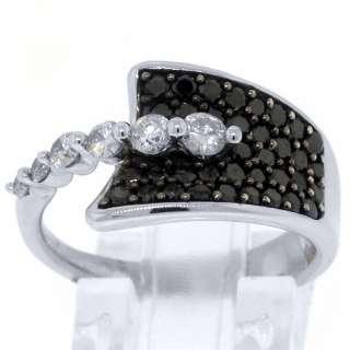 WOMENS BLACK DIAMOND RING WEDDING BAND RIGHT HAND 1.15 CARAT ROUND