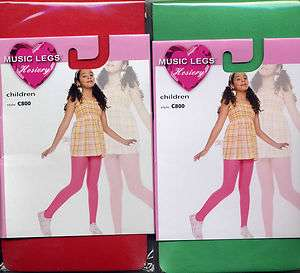 Child Tights Soft Opaque Dancer Red or Green Girl S M L XL Skater