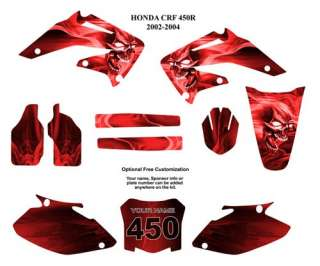 Honda CRF 450R 2002 04 Moto Graphic Decal Kit 6666 Red