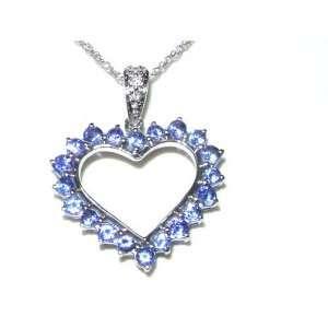9K White Gold Tanzanite & Diamond Heart Pendant & 18 Chain Necklace