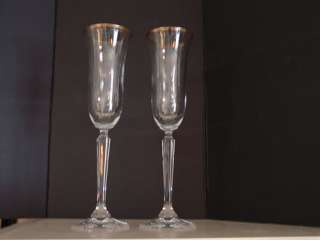 Pair Crystal Champagne Flutes Glasses Gold Trim