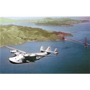 Aviation Postcard   Pan American Airways Boeing 314 flying over Golden