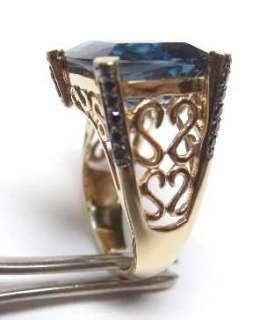 New Old Stock 6ct Princess Cut London Blue Topaz .50ct Black Diamond