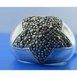 925 STERLING SILVER MARCASITE STAR DOME RING SIZE 7