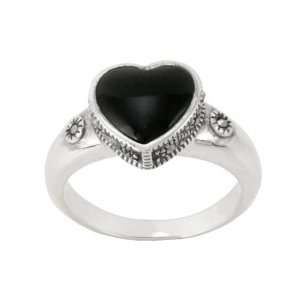 Sterling Silver Marcasite Onyx Heart Ring, Size 6 Jewelry