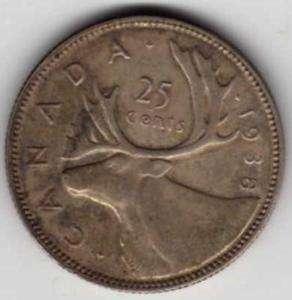 1938 CANADA SILVER QUARTER (25 CENT)