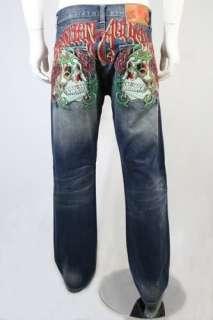 Christian Audigier Rhinestone Deadhead Rose Jeans Denim