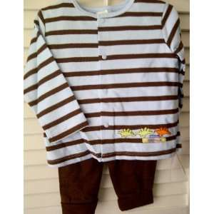 Absorba Baby Clothes Boy Dinosaur Blue & Brown Stripe Long