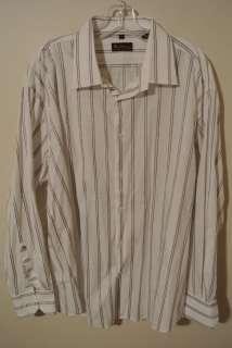 Mens Ben Sherman White Striped Casual Dress Shirt 5 XXL 2XL