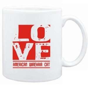 Mug White  LOVE American Wirehair  Cats