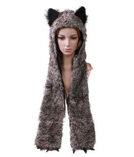 Multifunctional Cartoon Animal Timber Wolf Plush Soft Warm Cap Hat
