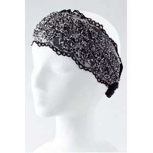 Hair Accessory ~ Black Stretchable Printed Floral Head Wrap Sports