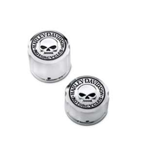 Harley Davidson Chrome Axle Nut Covers Willie G Skull