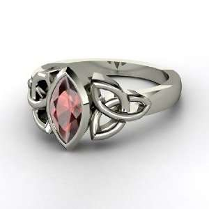 Caitlin Ring, Platinum Ring with Red Garnet Jewelry