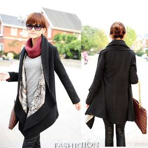 Womens Winter Woolen Coat Long Cape Jacket Black Free Ship