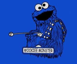 Sesame Street Chewbacca Cookie Monster Wookie RIPT Mens Shirt RARE