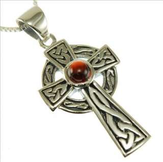 Sterling Silver Celtic Knot Cross Pendant w Garnet Stone and Box Chain