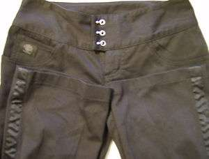DAVIDSON MOTORCYCLE WOMENS BLACK RIDING CROPPED PANTS Size 4L