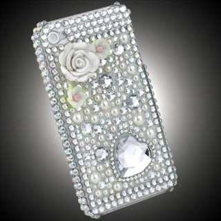 3D White Flower Heart Crystal Bling Rhinestones Hard Case for iPhone