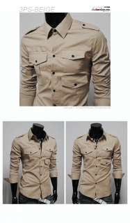 3PS) THELEES Mens slim strap 3 pocket shirts BEIGE