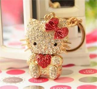 Heart Red Hello Kitty Fashion Cat Swarovski Crystal Charm Pendant Key