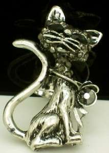 KITTY CAT ADJUSTABLE RING w BLACK GOTHIC 80s PUNK WITCH