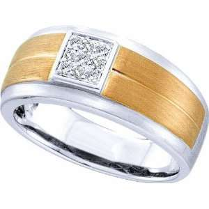 14K White Gold .10CT Diamond Pave Set Fashion Mens Band with Two Toned